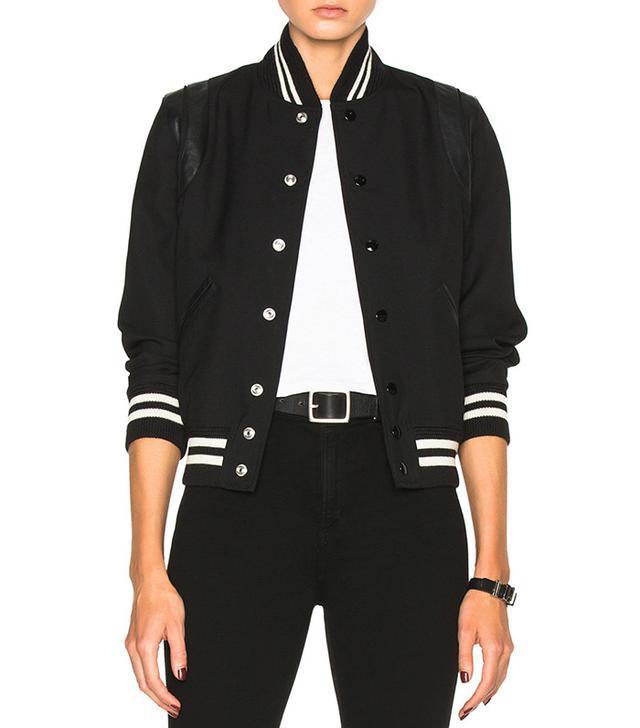 Saint Laurent Teddy Gabardine Bomber Jacket