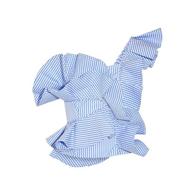 Johanna Ortiz Dama Danzante One-Shoulder Ruffled Cotton-Poplin Top