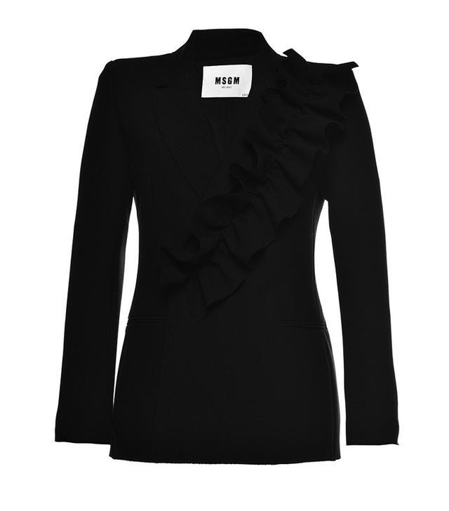 MSGM Black Ruffled Technical Crepe Jacket