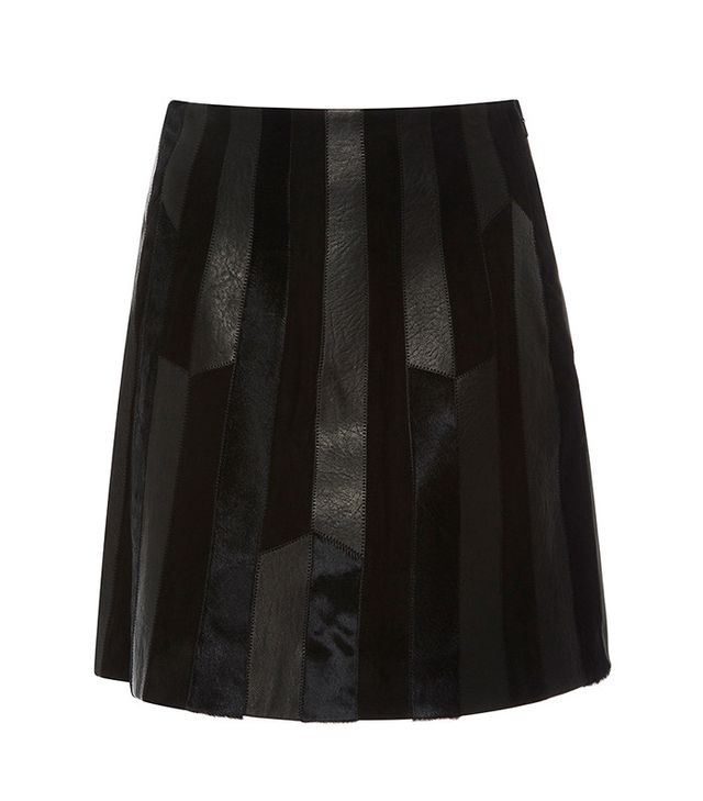 Derek Lam 10 Crosby Pleated Patch Leather Skirt