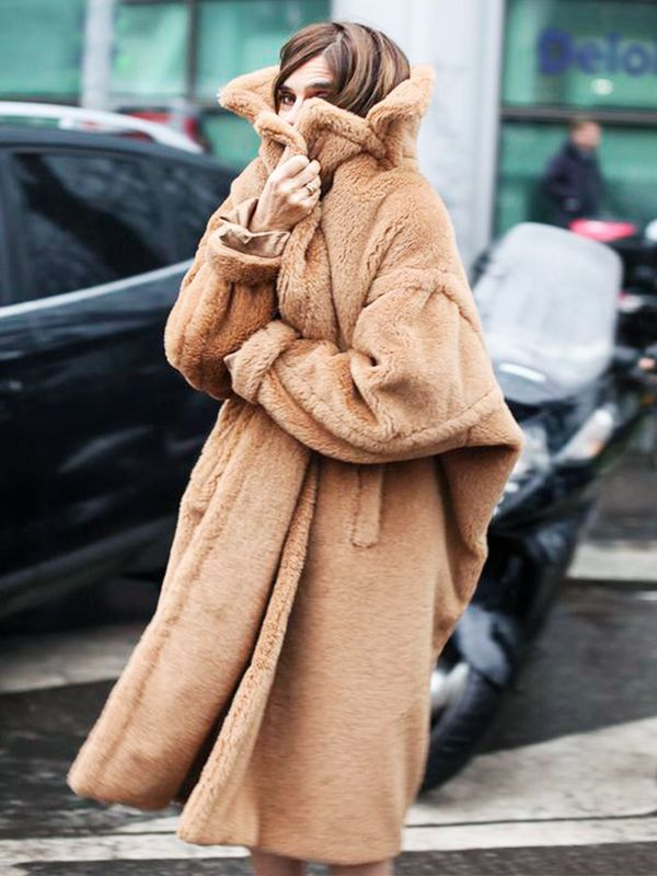 Carine Roitfeld knows harsh temperatures calls for an ultra-cozy coat.