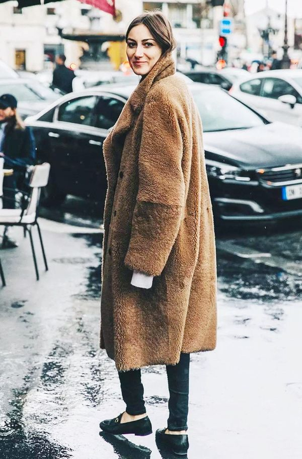 Style your teddy bear coat with skinny jeans and loafers for a cute, flattering take on the trend.