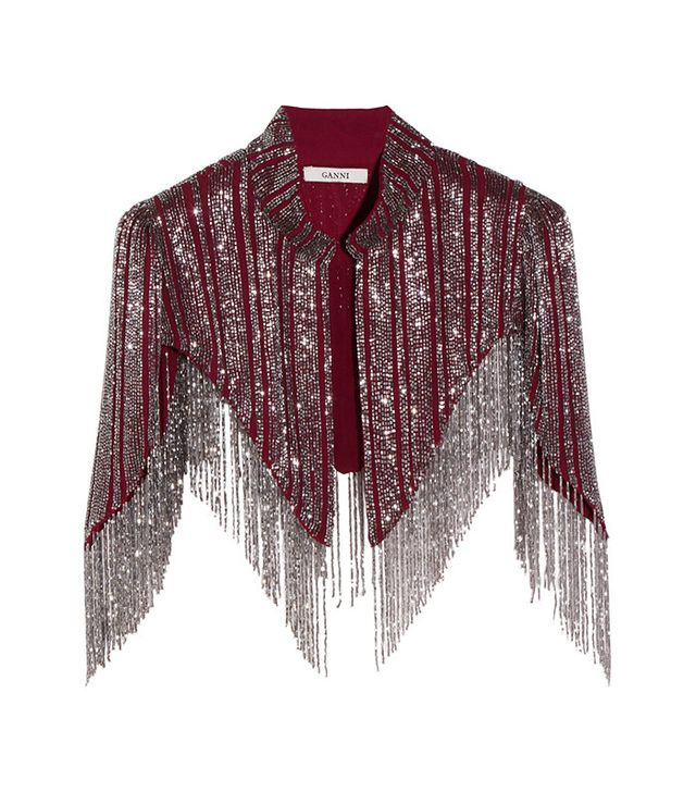 Ganni Fringed beaded georgette cape
