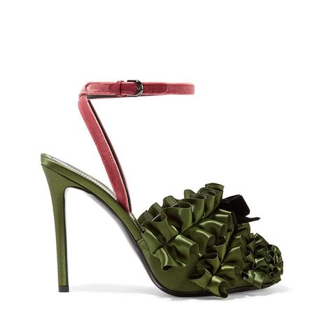 Velvet-Trimmed Ruffled Satin Sandals