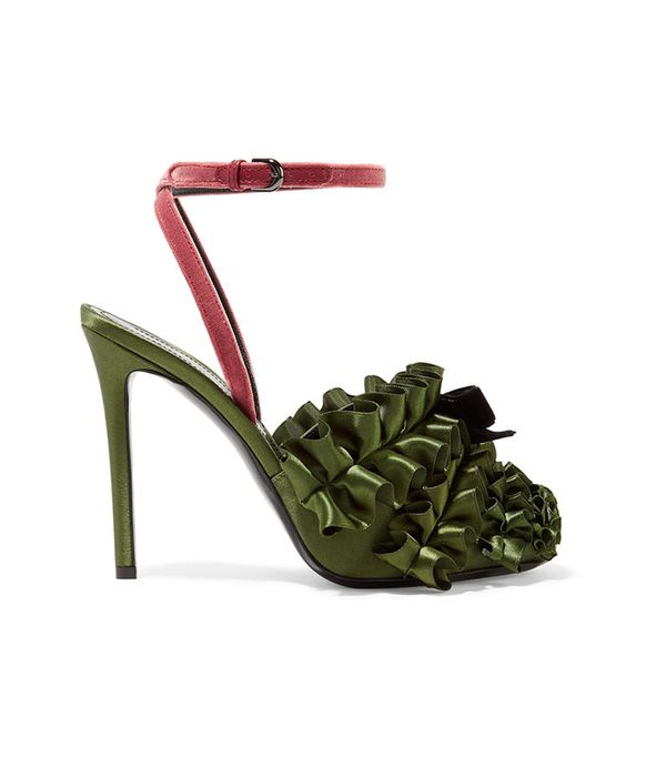Marco de Vincenzo Velvet-Trimmed Ruffled Satin Sandals