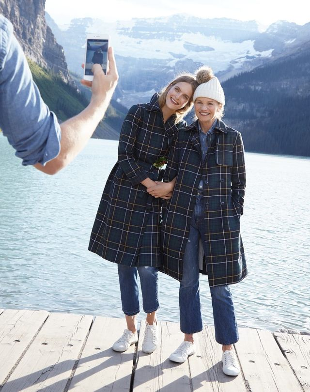 J.Crew Collection Trench Coat in Tartan ($395), Vintage Crop Jeans in Rhodes Wash ($125), and Ribbed Hat with Faux-Fur Pom-Pom in Bright Ivory ($40)
