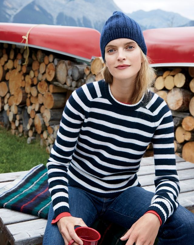 J.Crew Striped Holly Sweater ($70), Vintage Crop Jean in Leopold Wash ($125), and Ribbed Cashmere Hat in Midnight ($68)