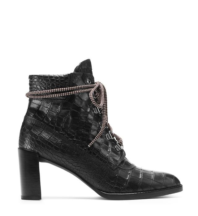 Stuart Weitzman The Gigi Boot in Croco Embossed Leather