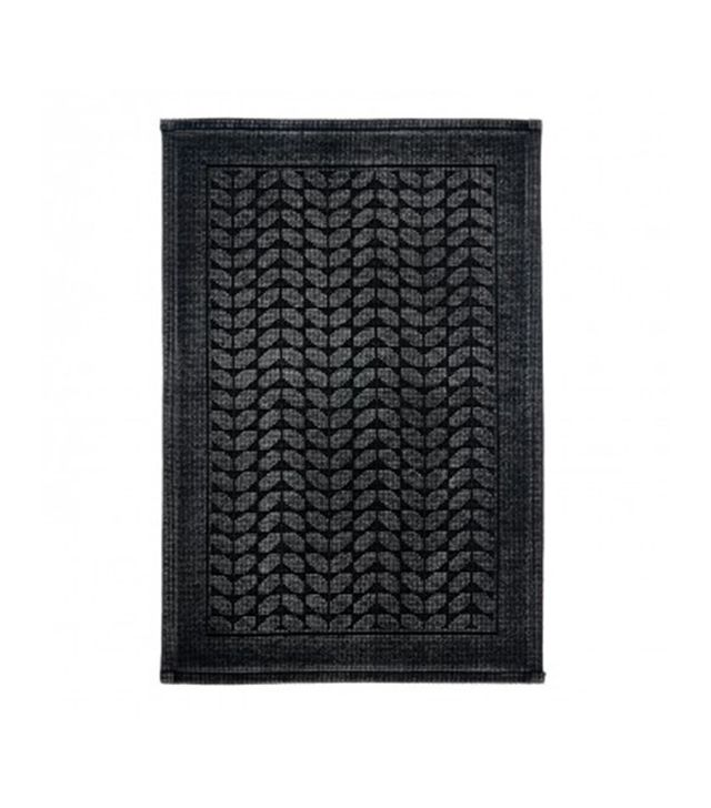 ABC Home Black Jacquard Bath Mat