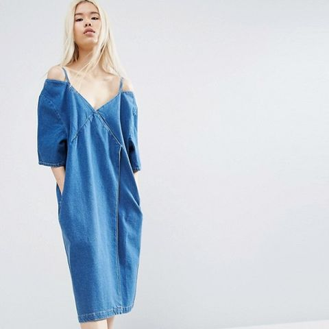 Denim Wrap Cold Shoulder Dress
