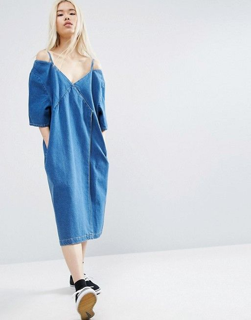 ASOS White Denim Wrap Cold Shoulder Dress