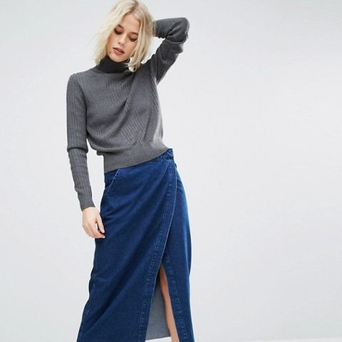 Denim Midi Wrap Skirt With Raw Hem in Dark Wash Blue
