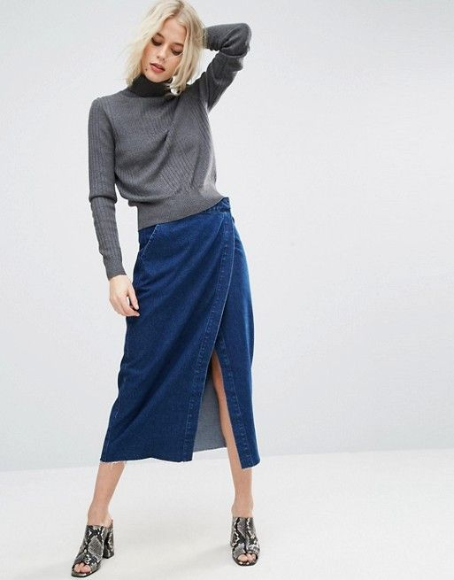 ASOS Denim Midi Wrap Skirt With Raw Hem in Dark Wash Blue