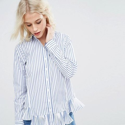 Stripe Cotton Shirt with Ruffle Hem