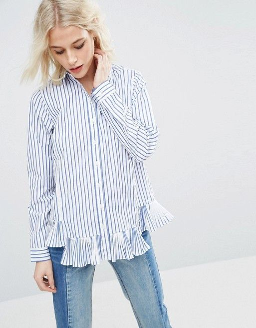 ASOS Stripe Cotton Shirt with Ruffle Hem