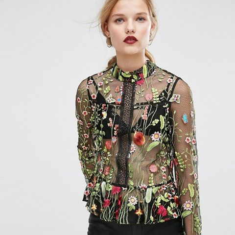 Premium Embroidered Mesh Blouse