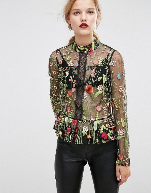 ASOS Premium Embroidered Mesh Blouse