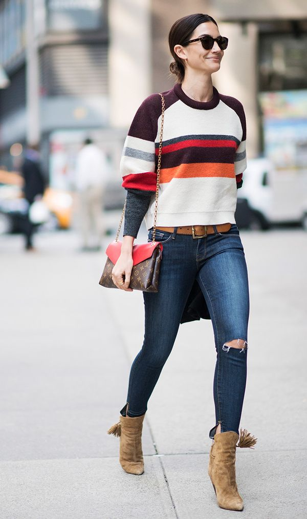 Striped Sweater + Skinny Jeans + Ankle Boots