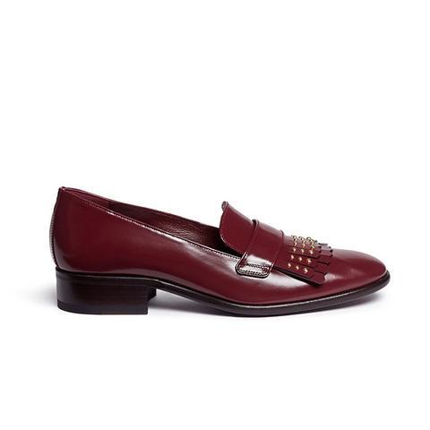 Stud Kiltie Vamp Leather Loafers