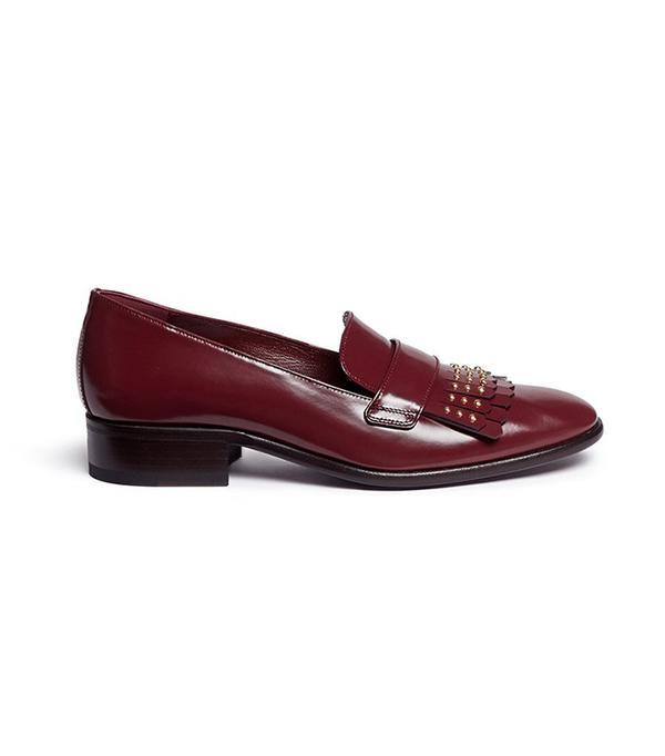 Alexander McQueen Stud Kiltie Vamp Leather Loafers