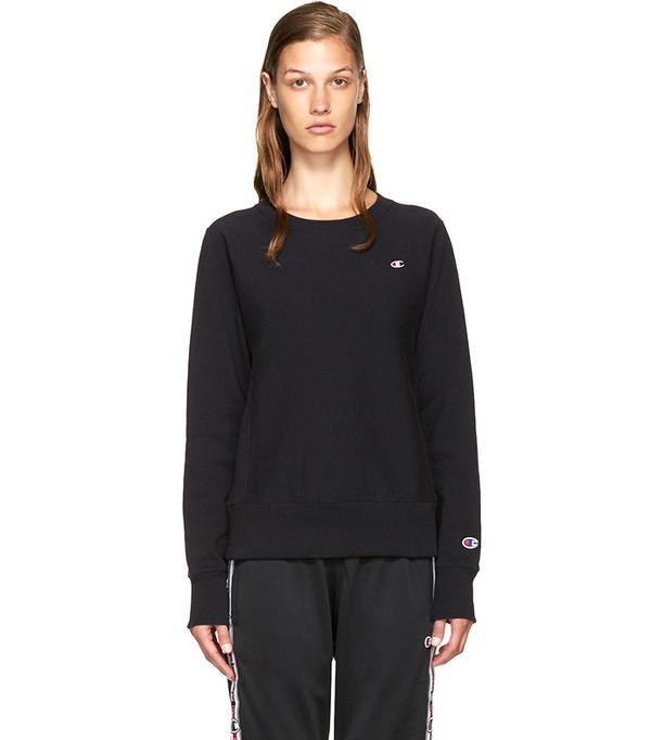 Champion Reverse Weave  Black Small Logo Pullover
