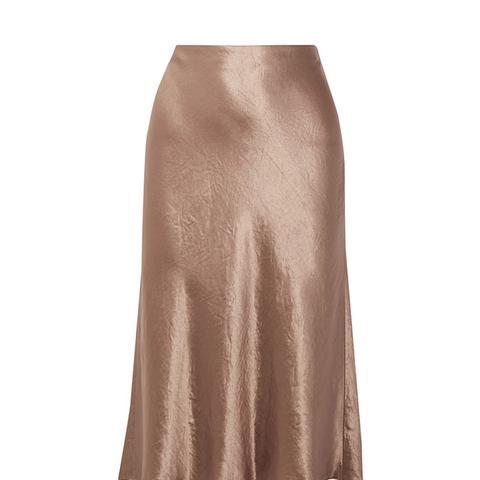 Satin Flare Midi Skirt