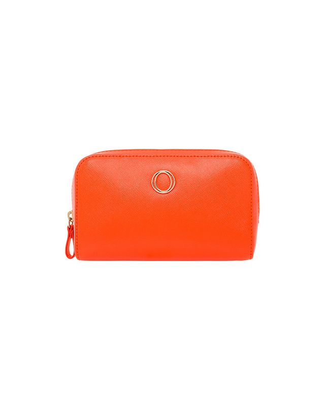 Oroton Metier Patent Beauty Case in Desert Orange