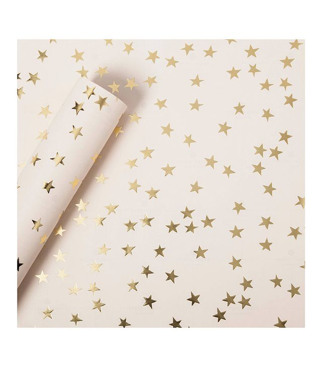 Sugar Paper Gold Foil Stars on Blush Wrapping Paper