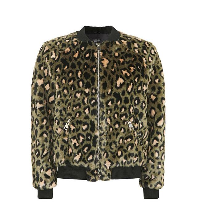 Topshop Leopard Faux Fur Bomber Jacket