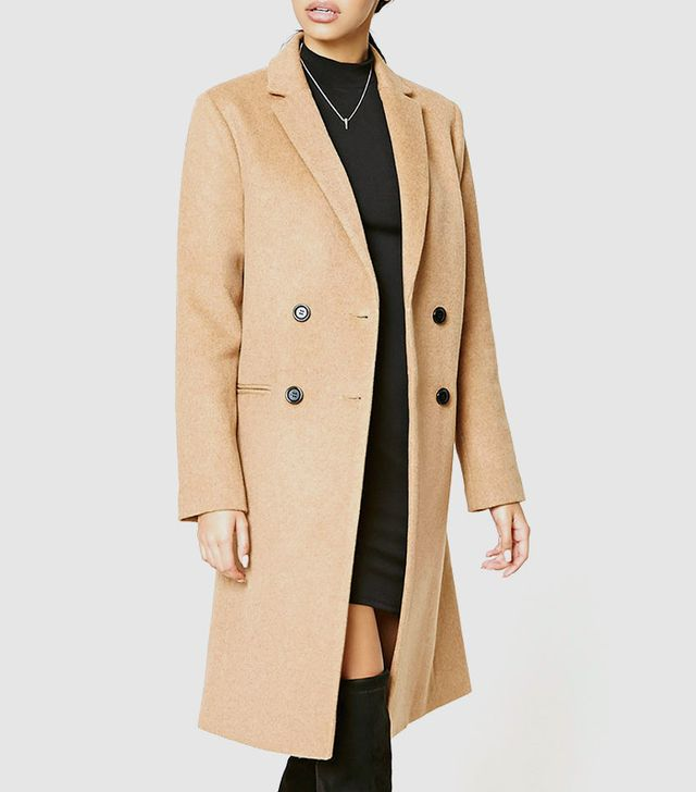 Forever 21 Double-Breasted Wool Blend Coat