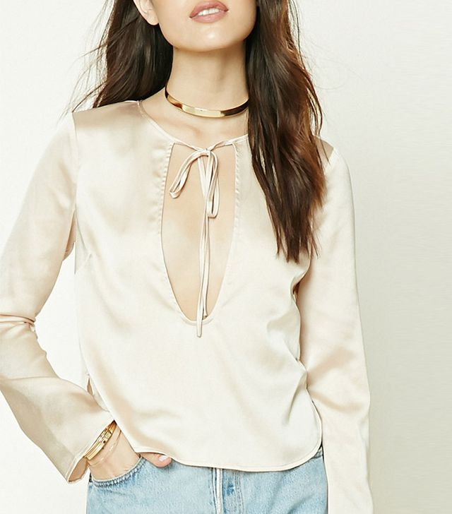 Forever 21 Satin Tie-Neck Cutout Top