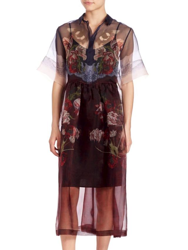 Mother of Pearl Organza Florian Silk Shirt Dress