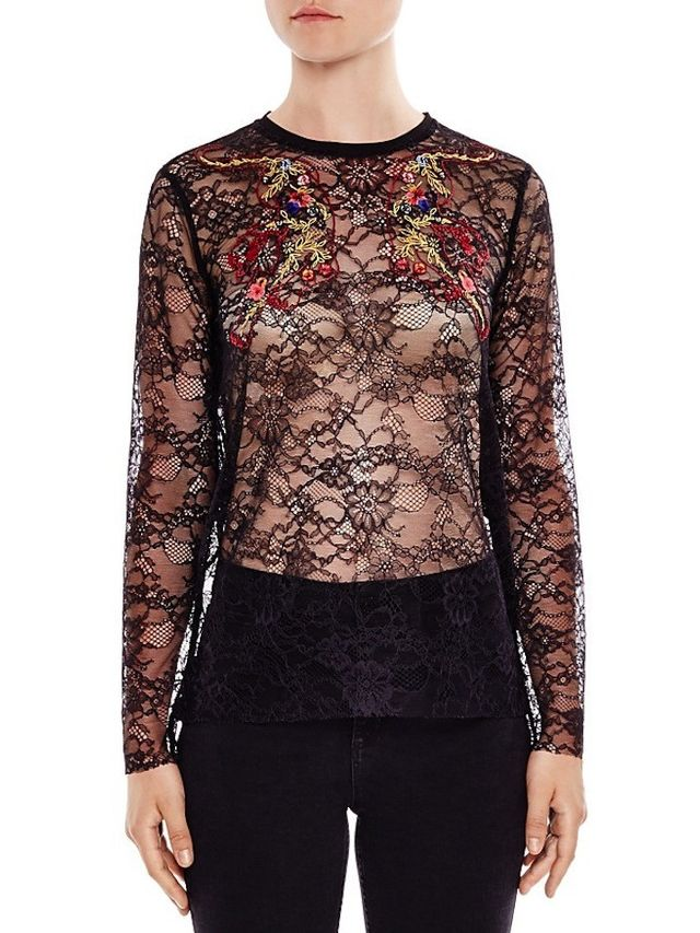 Sandro Reiko Embroidered Lace Top