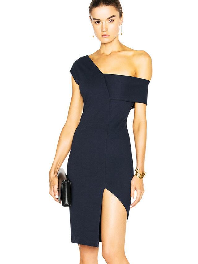 Michelle Mason Asymmetrical Strap Dress