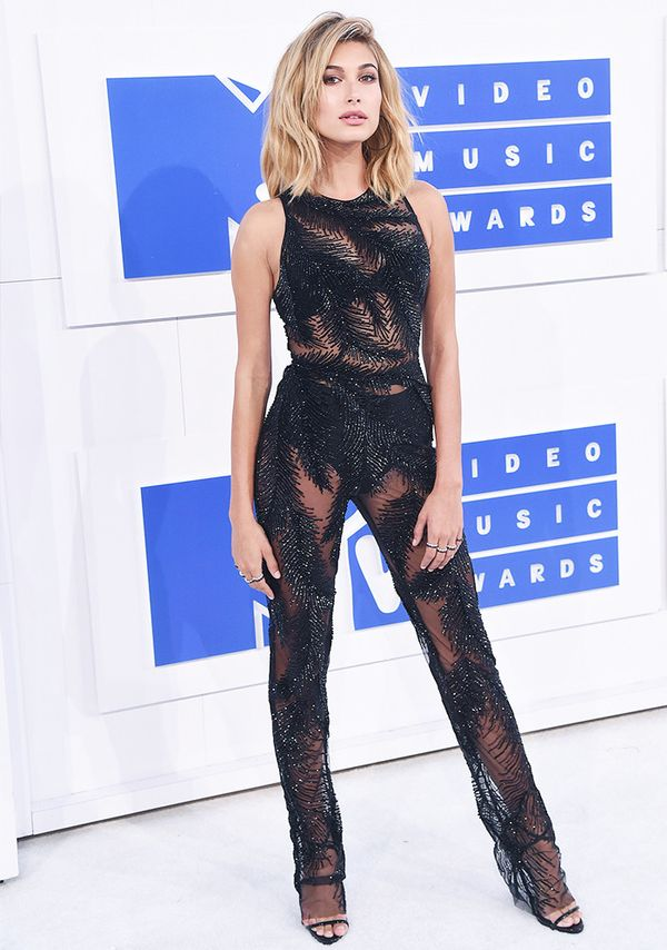 Style Notes: Giving the naked dress trend a run for its money, Hailey's Georges Chakra jumpsuit choice for the 2016 MTV Awards was an inspired one.