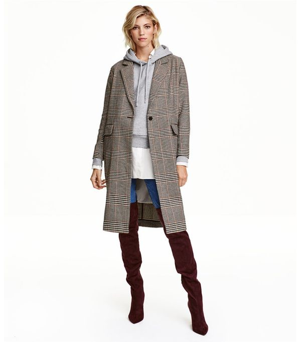 H&M Houndstooth-Patterned Coat