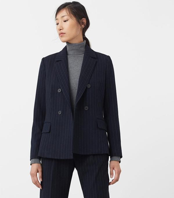 Mango Pinstripe Suit Blazer