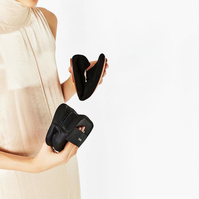 Zara Soft Leather Ballerinas in Black