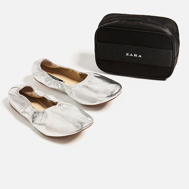 Zara Soft Leather Ballerinas in Silver
