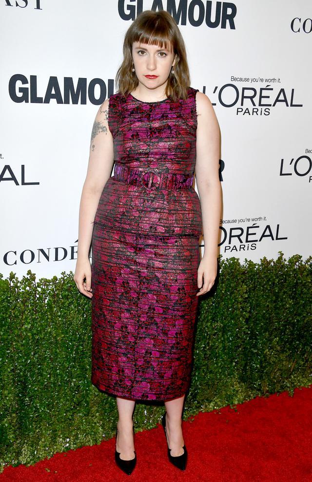 On Lena Dunham: Jonathan Cohen custom dress.