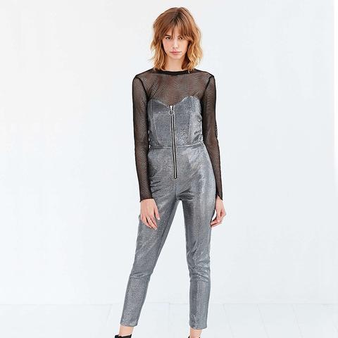 Monaco Metallic Zip-Front Strapless Jumpsuit