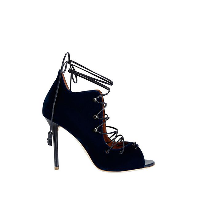 Malone Souliers Donna Blue Velvet Sandals