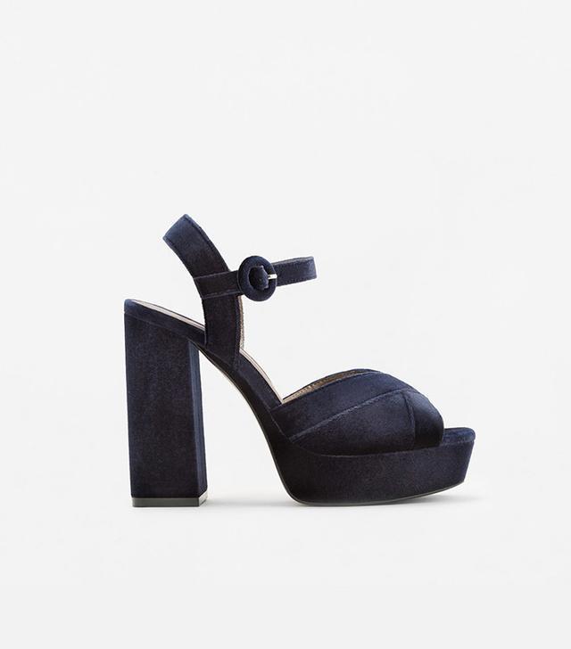 Mango Platform Velvet Sandals