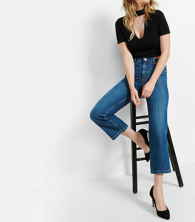Express High Waisted Straight Crop Jeans