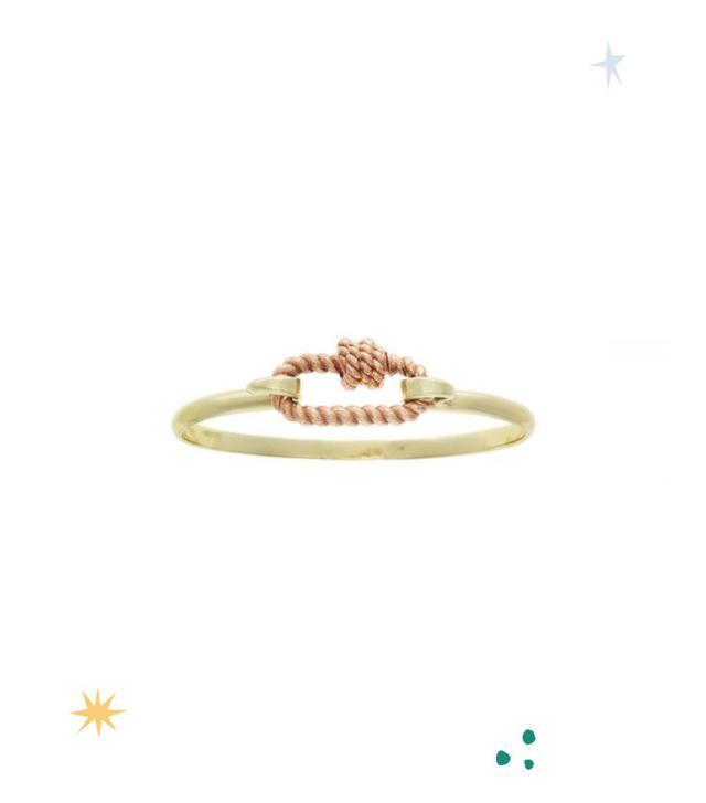 Marla Aaron Rose Gold Twisted Series Lock on a Green Gold Hard Hook Bracelet