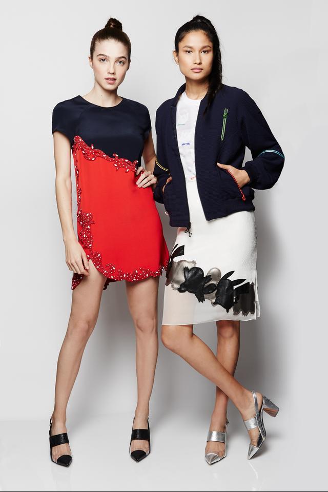 Prabal Gurung x Pokémon Short Sleeve Dress ($1795), Jiggly Puff Printed T-shirt ($325), Zipped Bomber Jacket ($1595), and Pencil Skirt ($1295)
