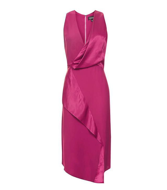 Topshop Drape Front Midi Dress