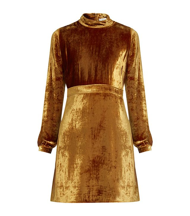 A.L.C. Gemma High-Neck Velvet Dress