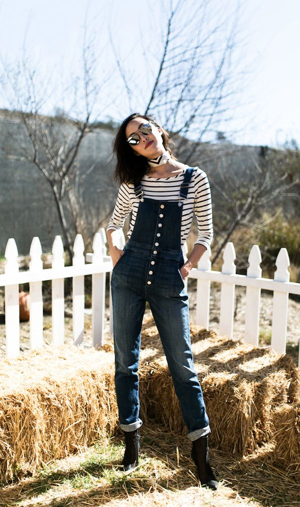 On Chriselle Lim: Amour Vert top; 7 for All Mankind overalls; Reed Krakoff booties; Aritzia scarf; Verdi sunglasses.