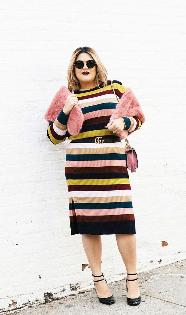On Nicolette Mason: Whistles Rib Knit Dress in Multi Stripe ($211); Kate Spade Baneera Heels ($328); Miu Miu MU 13NS ($390); Gucci Padlock Mini Embellished Leather Shoulder Bag ($2,230);...